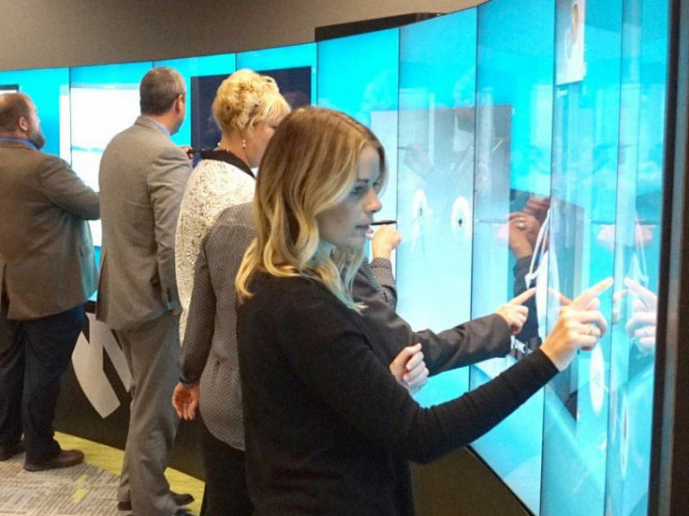 curved interactive video wall